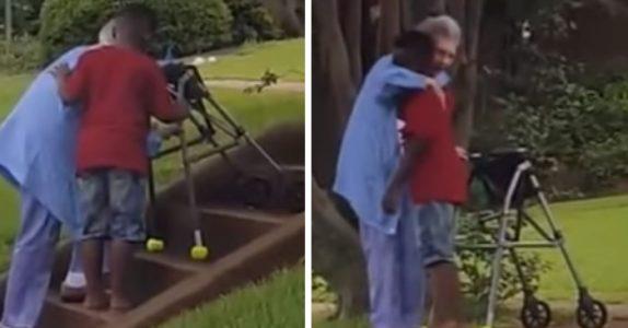 Den gamle damen kommer seg ikke opp trappen. Da gjør 8-åringen noe som rører oss alle til tårer!