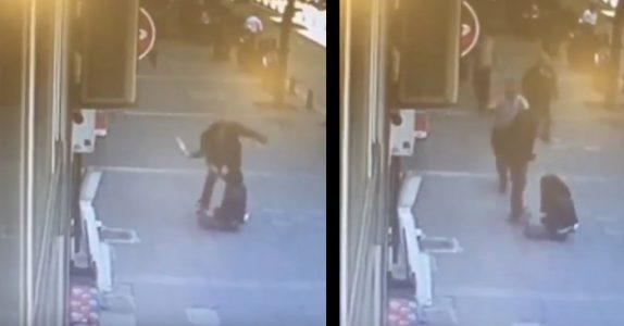 Mannen slår eks-kona på åpen gate. Sekunder senere får han smake sin egen medisin!