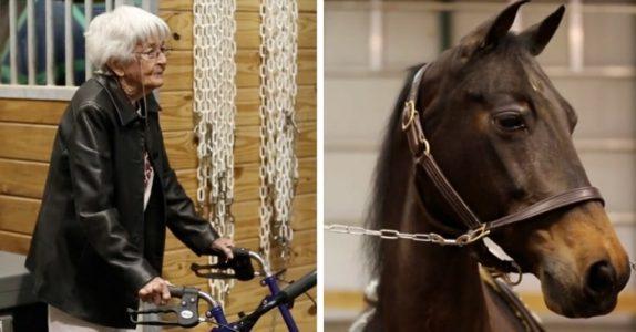 97-åringen sniker seg inn i stallen for å se. Men SE nå når hun klatrer opp på hesten og sjokkerer alle!