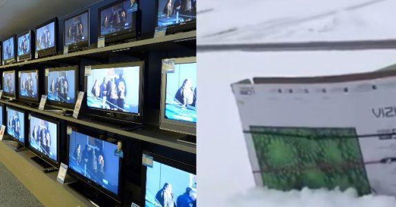 Mannen har kjøpt seg ny TV. Men SE hva han gjør med emballasjen etterpå!